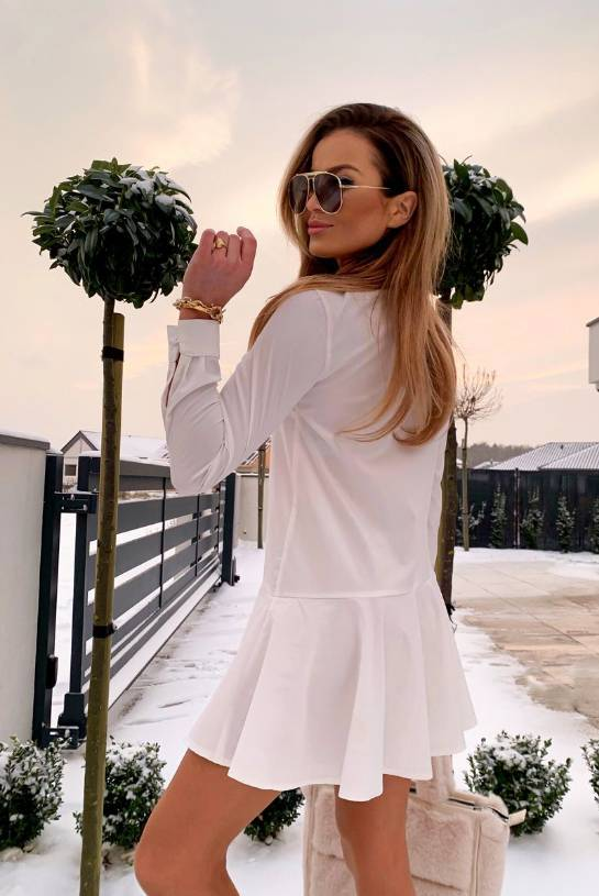 COTTON DRESS ZOE WHITE WITH BUTTONS | SHEILA AW20