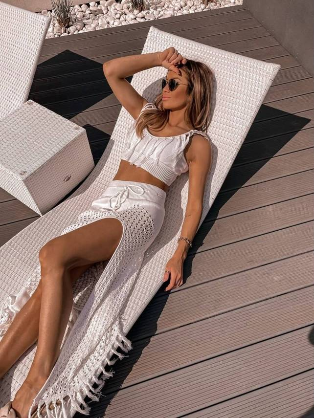 CREAM FEMALE BOHO SET WITH FRINGS |  SHEILA SS21