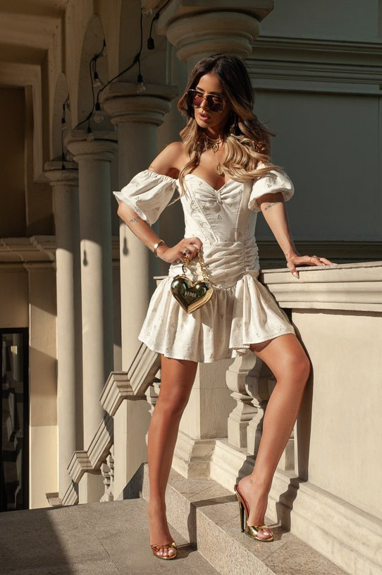 MARINA - ELEGANT DRESS WITH EMBROIDERY PATTERNS IN BEIGE AND GOLD