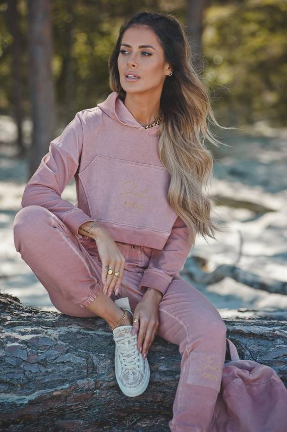 SWEATSHIRT DIRTY PINK WITH FELT EFFECT | SHEILA AW20